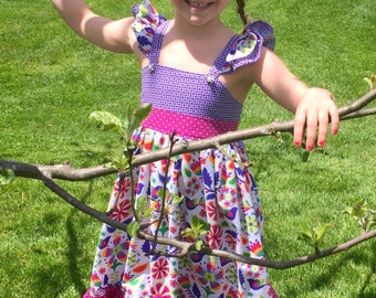 Homemade Dress/Matilda Jane Style Dress/Spring Dress/Create Kids Couture Dress
