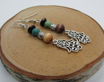 HAMSA HAND ZEN Earrings, Namaste Earrings, Tranquility Earrings, Mantra Earrings, Spiritual Earrings, Gifts for Yogis, Balance Earrings,