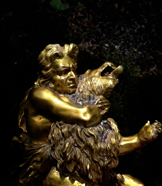 Antique Continental Bronze Ormolu Sculpture Hercules Wrestling the Nemean Lion