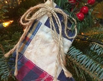 Antique quilt stocking ornament with berries