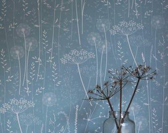 SAMPLE // Blue Teal Floral Tonal Botanical Dandelion Woodland Wallpaper // Paper Meadow in 'Teal' by Hannah Nunn