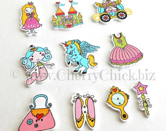 Fairy Tale buttons - Princess Buttons - Buttons for Sewing - Quilting buttons - Cherry Chick - Unicorn Buttons - Girlie Buttons