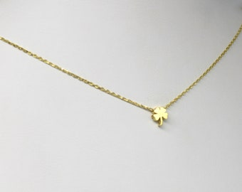 Gold Four Leaf Clover Necklace, Good Luck Necklace, Lucky Charm Necklace, Four Leaf Clover Necklace, Four Leaf Clover Jewelry, Gift For Her