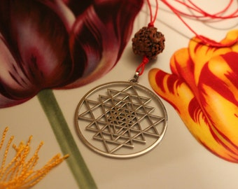 Shree yantra pendant etsy solid sterling silver necklace with sri yantra mozeypictures Choice Image