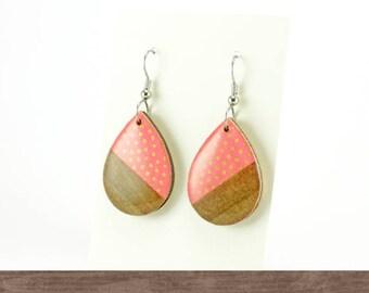 Pink polka dot wood dangle earrings, Surgical steel, Geometric, Vintage paper, Washi earrings, Laser cut wood, Gift for her