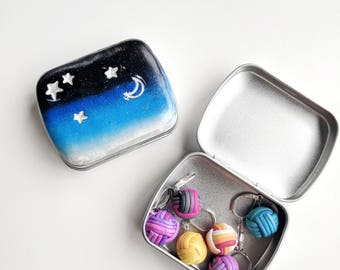 Starry Night Tin. Rectangular Storage tin. Stitch Marker tin. Needle tin. Handmade. Polymer Clay. Ready to ship.