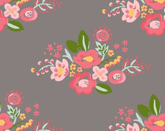 Posie Double Gauze - 100% GOTS Certified Organic Cotton - Organic - Fabric by the Yard - Sustainable Fabric - Floral - Coral - Taupe