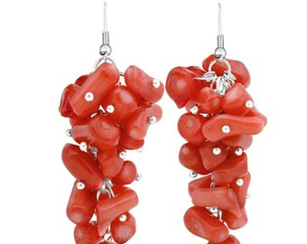 crochet earrings in 925 Silver and coral chips