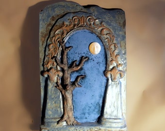 Tree Moon Gate Original Ceramic Terracotta Sculpture Wall Hanging