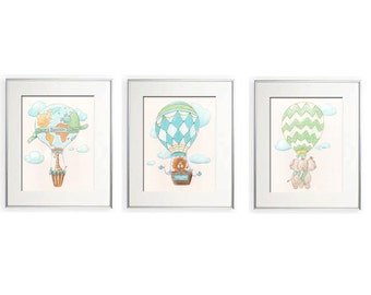 Air Balloon Animals, Travel Themed Nursery, Personalized, Safari Nursery Prints, Baby Animal Prints, Elephant Lion Giraffe, Baby Shower Gift