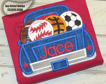 Sports Truck - Appliqued and Personalized
