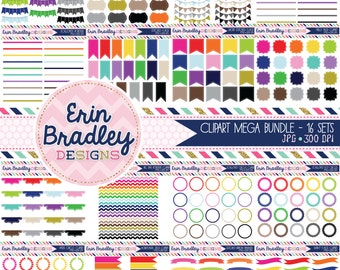 Mega Clipart Bundle Digital Clip Art Borders Bunting Frames Labels & Tags Instant Download Commercial Use Graphics - 16 Sets