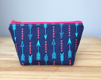 Extra Small Makeup Bag, Arrows, Arrow Makeup Bag, Arrow Cosmetic Bag, Arrow Notions Bag