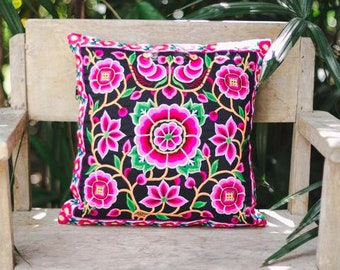 """Thailand Hmong Hill Tribe Embroidered Pillow Case 16""""x16"""""""
