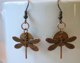 Dragonfly Earrings, Copper Dragonfly Earrings, Dragonfly Charms