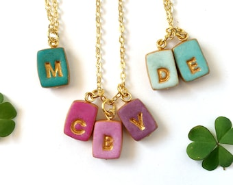 Tiny Letters Necklace for Mom, Petite Necklace, Small Letter charms on High quality Gold plated necklace, Mother Gift, Christmas for mom