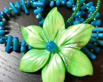 Peruvian Lily Mother of Pearl and Coral Necklace in Turquoise Fern