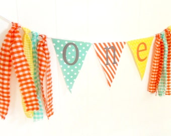 Tassel Garland Backdrop, First Happy Birthday High Chair Banner, ONE Bunting, Fabric Pennant Flags Orange, Lime, Yellow, Mint Photo Prop