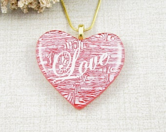 Red Dichroic Glass Heart Pendant - Red and White Fused Dichroic Love Heart Necklace - Glass Heart Pendant -  Handmade Heart Jewelry