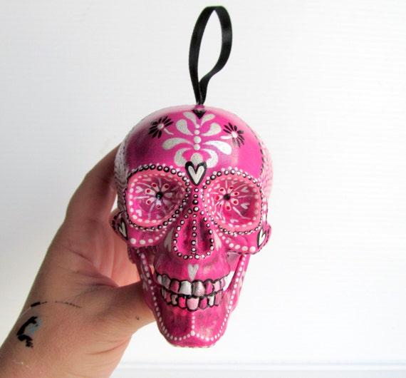 SKULL Hand Painted Skull Ornament Plastic shatterproof ornament Painted Skull sugar skull pink ornament upcycled repurposed