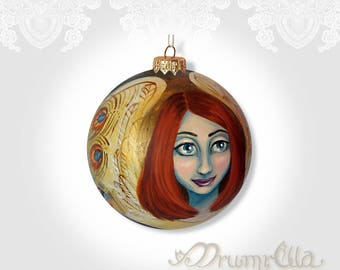 Large Hand Painted Bauble ANGEL Christmas ornament Shatterproof Only one One of a Kind