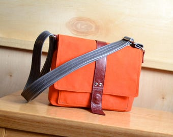 Mini Messenger Bag in Waxed Canvas, Crossbody Bag, Waxed Canvas Purse, Small Satchel Pocketbook - The Davy Mini Messenger in Safety Orange
