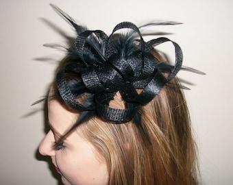 Black Fascinator Hair Clip Black Feather fascinator Weddings Evening wear Races Hair Accessory Hand made
