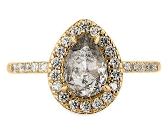 1.32 Carat Salt and Pepper Pear Rose Cut Engagement Ring, Fiona Setting 14k Yellow Gold