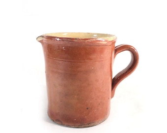 Brown Pitcher, Glazed Pottery Jar, Beige Yellow Sandstone, Earthenware, French Farmhouse, Primitive Jug