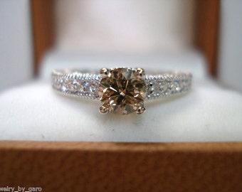 14K White Gold Natural Champagne & White Diamond Engagement Ring 0.64 Carat Vintage Antique Style Engraved handmade
