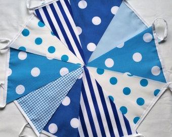 10ft / 3m Blue Hues Mix Bunting Pennant Garland: Polka-Dots Stripes Gingham and Plain ~ Baby Boy, Birthday Party, Baptism