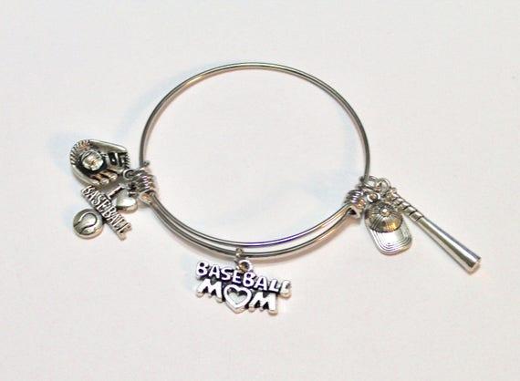 Baseball Mom Expanding Bangle Charm Bracelet, Gift for Mom, Gift for Her, Baseball Jewelry, Baseball Charms, Baseball Gift, I Love Baseball