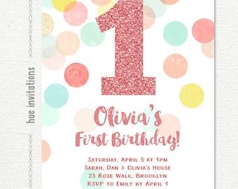 pink girls 1st birthday party invitation, coral mint peach yellow blue confetti, pink glitter birthday invitation, customized printable