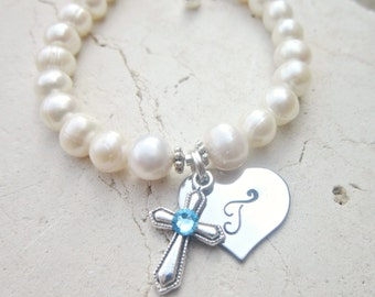 Girl's Baptism Gift. Birthstone Cross Bracelet. First Communion Gift. Girl's Genuine Pearl Initial Heart Bracelet. First Communion Jewelry