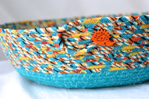 Cozy Cat Bed, Hand Coiled Pet Bed, Green Fabric Basket, Turquoise Dog Bed Furniture, Southwestern Storage Organizer Bin Rack