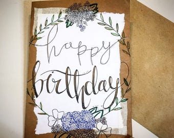Hand Painted Birthday Card Greeting any Occasion