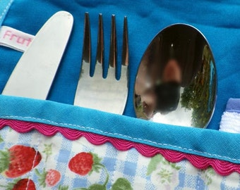 Cutlery Roll, Children's or Babies cutlery, Picnic Cutlery, Cutlery Case, Knife Fork Spoon Roll