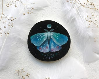 Midnight Garden Moth | Original Painting on wood