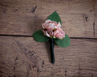 Blush Pink Rose Boutonniere - Silk Wedding Boutonniere
