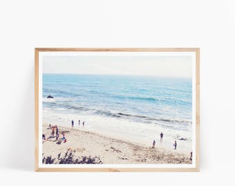 Beach Print, Beach Decor, Aerial Beach View, Coastal Print, Beach Printable, Beach Wall Art, Aerial View People on Beach, Seaside Print