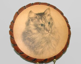 Vintage Bark-Art Cat Picture Plaque, Hand Made Round Wood Wall Hanging, Maine Coon Cat Drawing