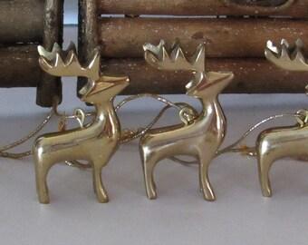 """4 Brass Reindeer Ornaments, 2 3/4"""" tall"""