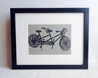 "Tandem Bicycle handmade linocut print, 5x7"" gravel gray (unframed).  Home decor, wedding gift, birthday gift, bicycle art, bike art"