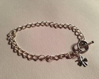 Children's Silver Charm Bracelet Clover Charm Jewelry Good Luck Jewellery