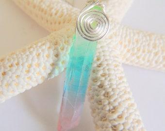 Rainbow Angel Aura Quartz Pendant