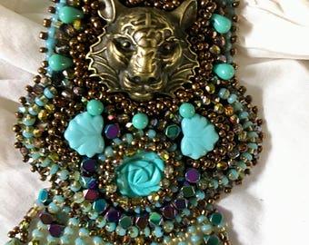 """tiger head"" Turquoise bib necklace pendant"