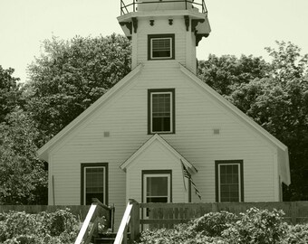 Mission Point Lighthouse #3 Black and White 11x14 Matte-READY TO SHIP