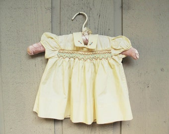 1950s Vintage Baby Yellow Dress Yellow Cotton Smocked Buttery cotton Mint Green Brown Smocking Twirler Baby Doll dress