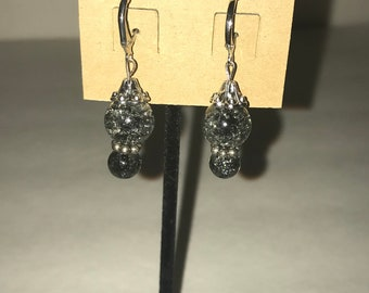 Handmade dangle earrings Black and Silver Crystal