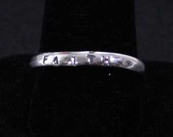 Sterling silver stackable ring stamped FAITH